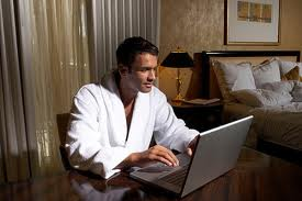 man reading email