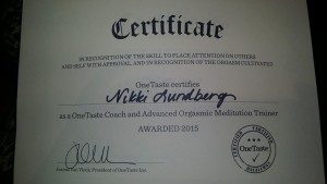 Sex Coach Nikki Onetaste Certified Coach and Advance Orgasmic Meditation Trainer
